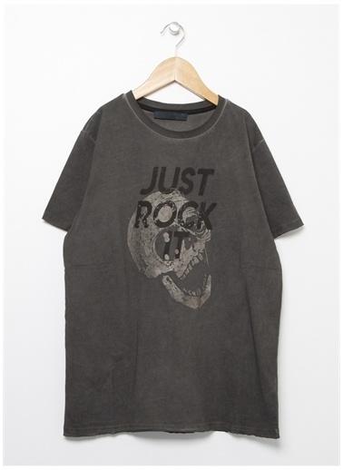 Funky Rocks Funky Rocks Bisiklet Yaka Gri T-Shirt Gri